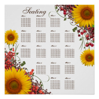 Sunflower Wedding Seating Chart | 35 X 35in. Size Poster