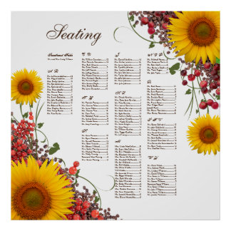 Sunflower Wedding Seating Chart Poster