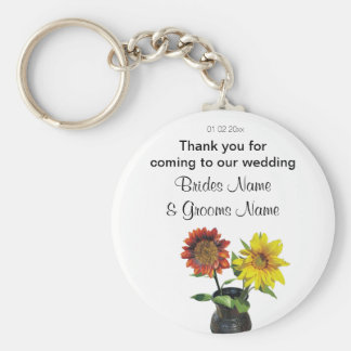 Sunflower Wedding Souvenirs Keepsakes Giveaways Basic Round Button Key Ring