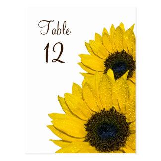 Sunflower Wedding Table Number Card Postcard