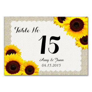 Sunflower wedding table numbers sunflower1