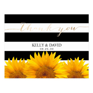 Sunflower Wedding Thank You Modern Stripes Postcard
