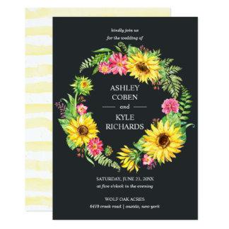 Sunflower wedding with wreath on dark background card