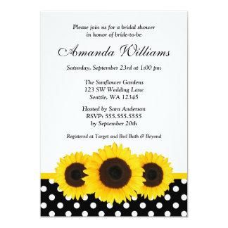 Sunflower White and Black Polka Dot Bridal Shower Card