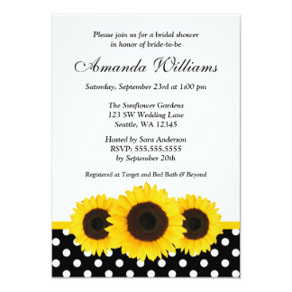Sunflower White and Black Polka Dot Bridal Shower 13 Cm X 18 Cm Invitation Card