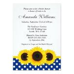 Sunflower White and Blue Polka Dot Bridal Shower 13 Cm X 18 Cm Invitation Card