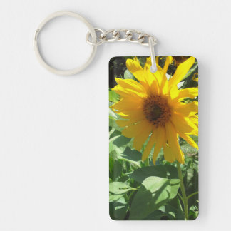 Sunflower with Bees Double-Sided Rectangular Acrylic Keychain