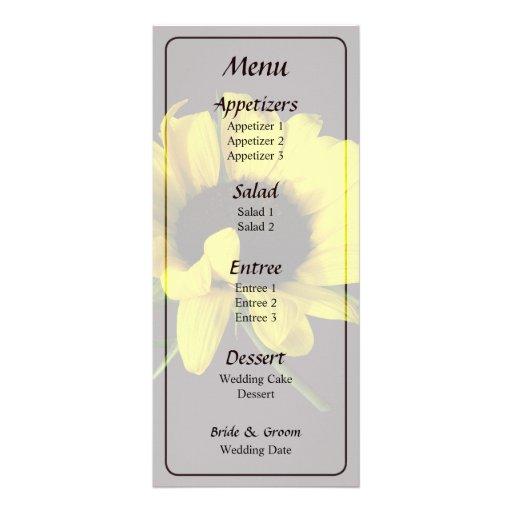 Sunflower With Naturally Curly Hair Weddin Menu... Rack Card Template