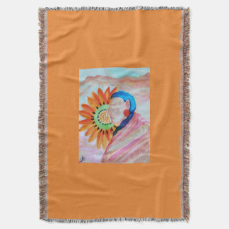 Sunflower woman throw blanket