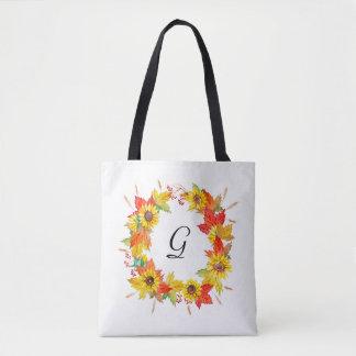 Sunflower Wreath Monogram Tote Bag