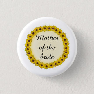 Sunflower Wreath Mother/Grandmother of the Bride 3 Cm Round Badge