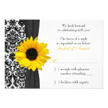 Sunflower Yellow Black Damask Wedding RSVP Reply Personalised Invites