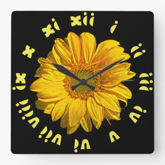 Sunflower Yellow Fat Roman Numbers Wall Clock
