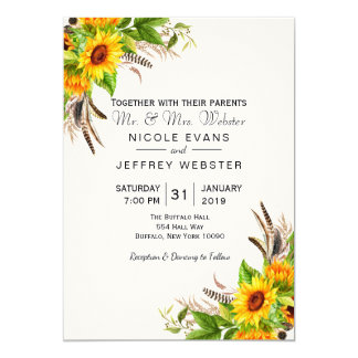 Sunflower Yellow Floral Barn Wedding Invitation