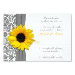 Sunflower Yellow Grey Damask Wedding RSVP Reply 9 Cm X 13 Cm Invitation Card