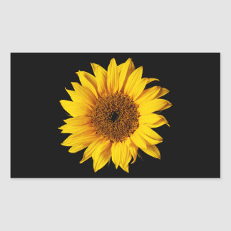 Sunflower Yellow on Black - Customized Sun Flowers Rectangular Sticker