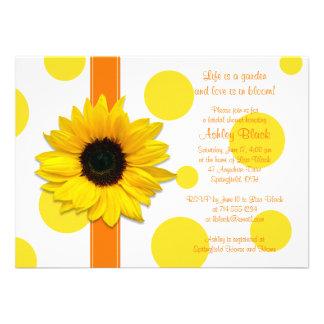 Sunflower Yellow Orange Polka Dot Bridal Shower Invitation