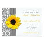Sunflower Yellow Pewter Grey White Damask Wedding 13 Cm X 18 Cm Invitation Card