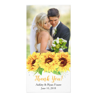 Sunflower Yellow Watercolor Wedding Thank You Card