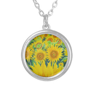 Sunflowers1 Silver Plated Necklace
