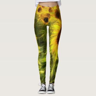 Sunflowers Abstract Van Gogh Leggings