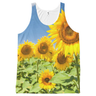 Sunflowers All-Over Printed Panel T-Shirt All-Over Print Tank Top