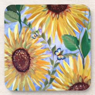 Sunflowers and a butterfly beverage coasters