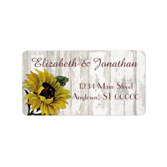 Sunflowers and a White Fence Wedding Address Label