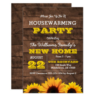 Sunflowers and Barnwood Housewarming Invitation
