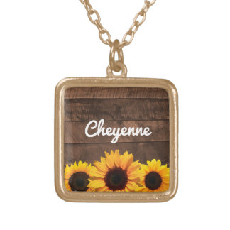 Sunflowers and Barnwood Personalized Necklace