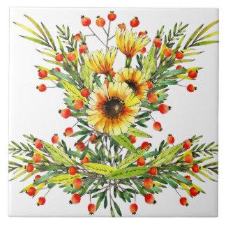 Sunflowers and Berries Floral Watercolor Design Ceramic Tile