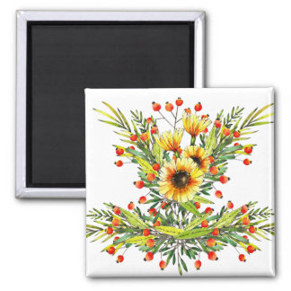 Sunflowers and Berries Floral Watercolor Design Magnet