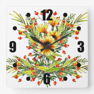 Sunflowers and Berries Floral Watercolor Design Square Wall Clock
