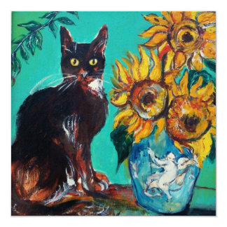 SUNFLOWERS AND BLACK CAT IN BLUE TEAL Summer Party Card