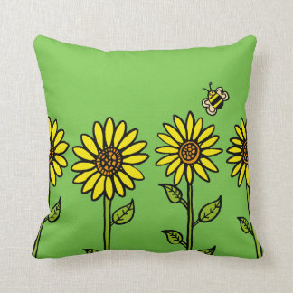 Sunflowers and Bumble Bee Cushion