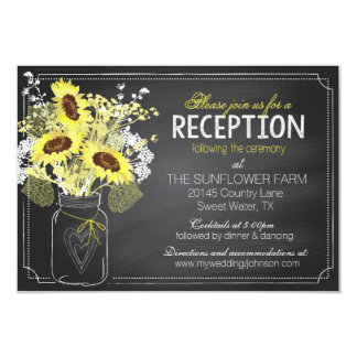 Sunflowers and Chalkboard Reception Card 9 Cm X 13 Cm Invitation Card