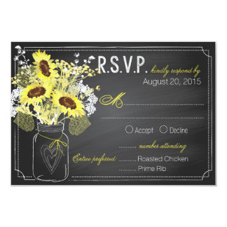 Sunflowers and Chalkboard RSVP Card 9 Cm X 13 Cm Invitation Card