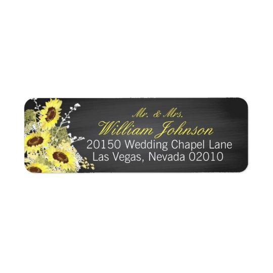 Sunflowers and Chalkboard Wedding Label Return Address Label
