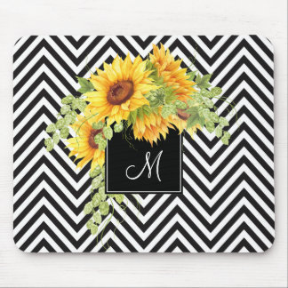 Sunflowers and Chevron Stripes with Your Monogram Mouse Pad