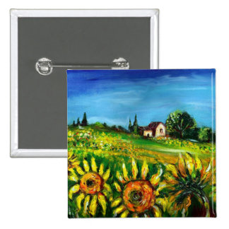 SUNFLOWERS AND COUNTRYSIDE IN TUSCANY 15 CM SQUARE BADGE