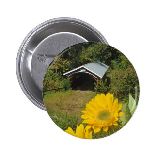 Sunflowers and Cover bridge Pinback Buttons