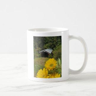Sunflowers and Cover bridge Coffee Mugs
