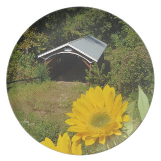 Sunflowers and Cover bridge Dinner Plate
