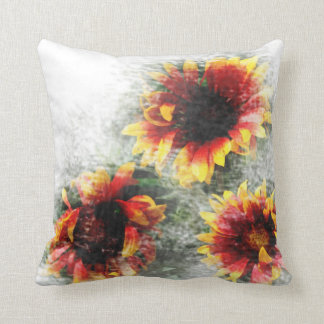 Sunflowers and Daisies Floral Throw Pillow