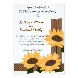 """Sunflowers and Fence Post Countryside Invitation 5"""" X 7"""" Invitation Card"""