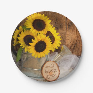 Sunflowers and Garden Watering Can Barn Wedding Paper Plate