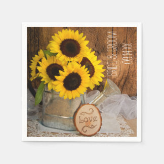Sunflowers and Garden Watering Can Wedding Disposable Serviettes
