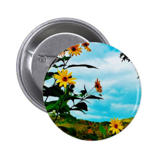 Sunflowers and mountains in Fletcher Vermont Pins