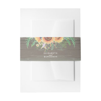 Sunflowers and Rustic Wood Floral Country Wedding Invitation Belly Band