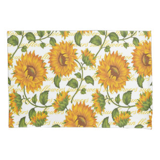 Sunflowers and text pillowcase